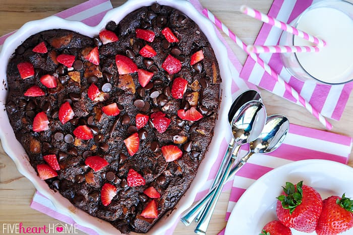 Chocolate Bread Pudding with Raspberry Sauce ~ warm, decadent dessert for your favorite chocoholic! Recipe includes a variation for Kahlua Chocolate Bread Pudding | FiveHeartHome.com