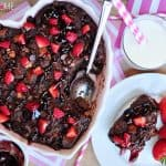 Chocolate Bread Pudding with Raspberry Sauce ~ warm, decadent dessert for your favorite chocoholic! Recipe includes a variation for Kahlua Chocolate Bread Pudding   FiveHeartHome.com