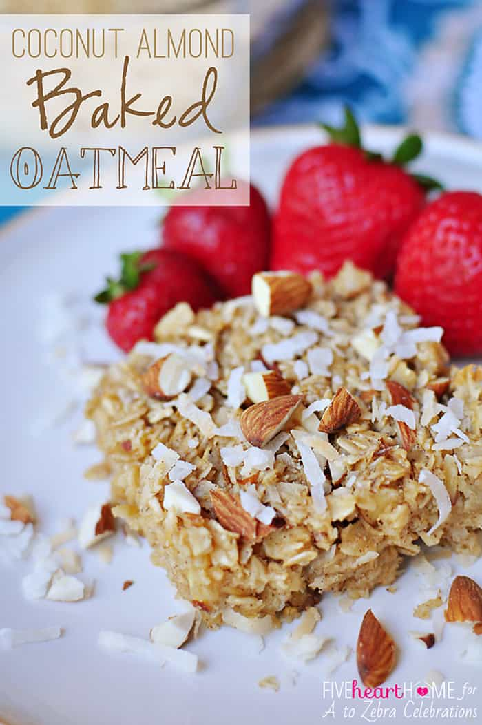 Coconut Almond Baked Oatmeal ~ a warm, nourishing breakfast that can be baked ahead of time and reheated on busy mornings! | FiveHeartHome.com
