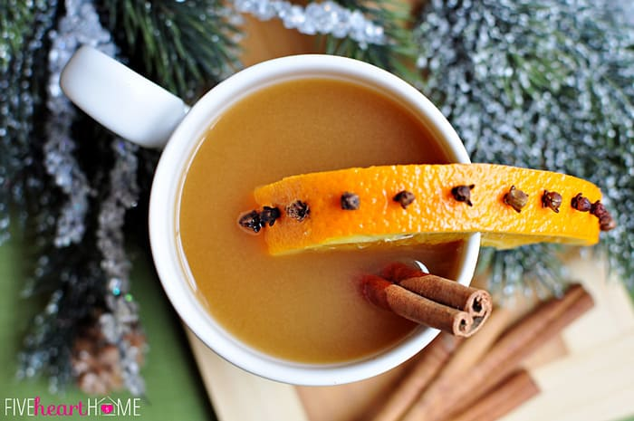 Aerial View of Favorite Hot Apple Cider with a Orange Slice Garnish Studded with Cloves and Cinnamon Stick