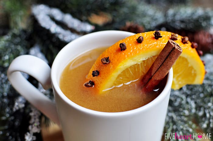 Favorite Hot Apple Cider ~ boasts the traditional flavors of cinnamon and nutmeg plus a bright undertone from pineapple and lemon juices | {Five Heart Home}