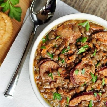 Slow Cooker German Lentil Soup with Sausage