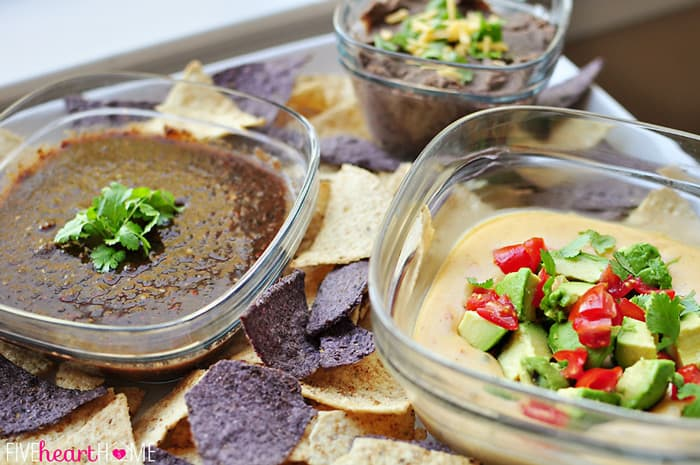 Salsa, Queso and Bean Dip in Glass Storage Containers