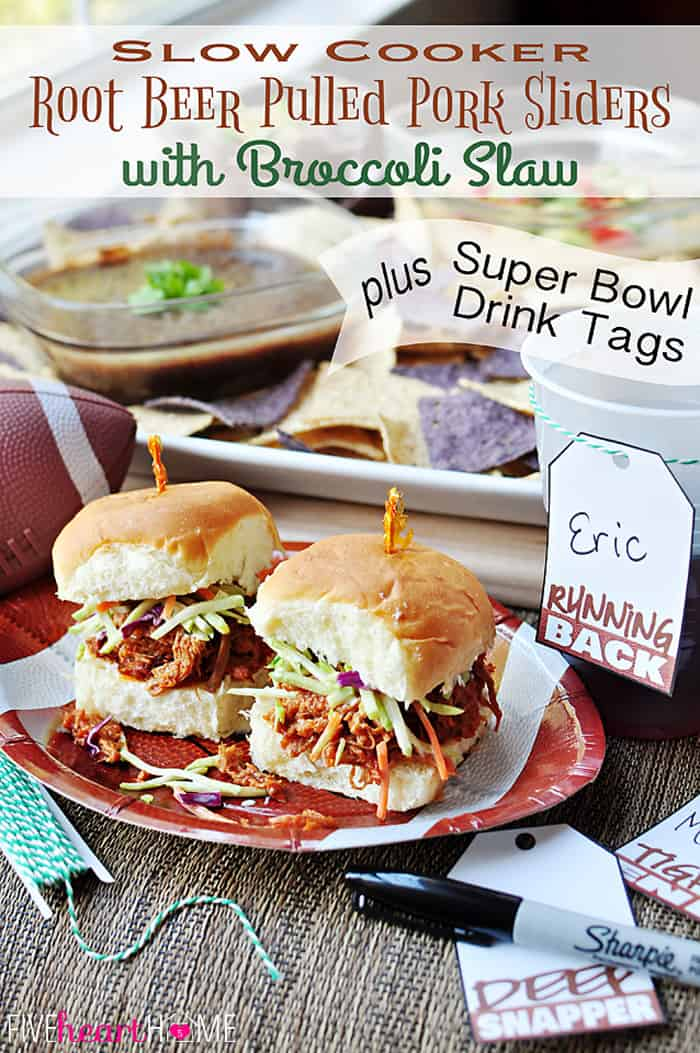 Slow Cooker Root Beer Pulled Pork Sliders with Creamy Broccoli Slaw {PLUS} Printable Super Bowl Drink Tags.. | FIveHeartHome.com