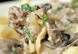 Slow Cooker Beef Stroganoff ~ easy crock pot meal featuring tender beef and hearty mushrooms in a sour cream sauce | FiveHeartHome.com