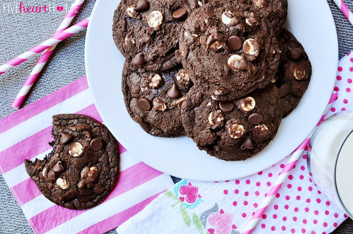 Triple Chocolate Fudge Cookies ~ intense chocolate flavor with chewy, gooey centers and two types of chocolate chips | FiveHeartHome.com
