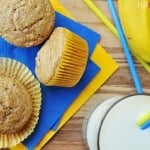 Healthy Whole Wheat and Honey Banana Muffins ~ wholesome ingredients including whole wheat flour, coconut oil, yogurt, and honey | FiveHeartHome.com