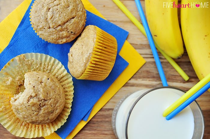 Aerial View of Healthy Whole Wheat and Honey Banana Muffins with a Glass of Milk