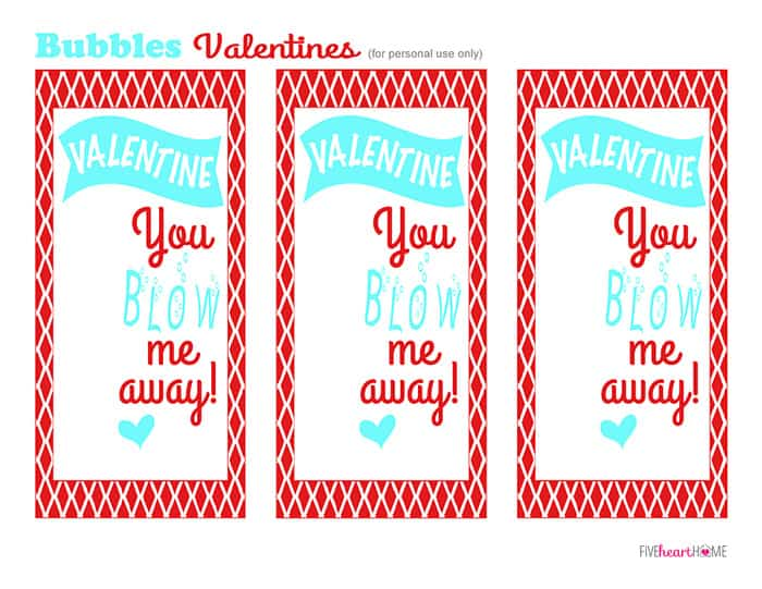 Bubbles Valentines Free Printable ~ Valentine, You Blow Me Away! | FiveHeartHome.com