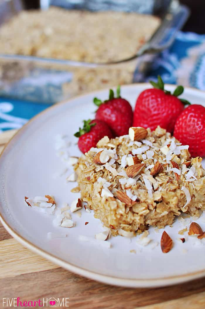 Coconut Almond Baked Oatmeal on a Plate for a Healthy Breakfast