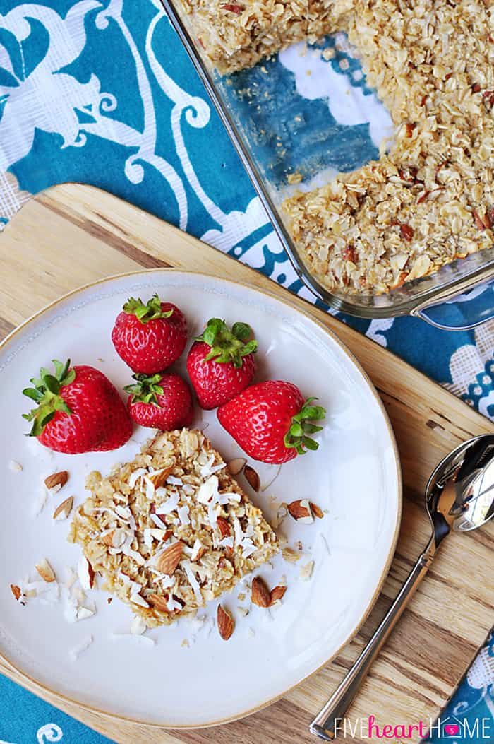 Aerial View of Coconut Almond Baked Oatmeal on White Plate with Fresh Berries
