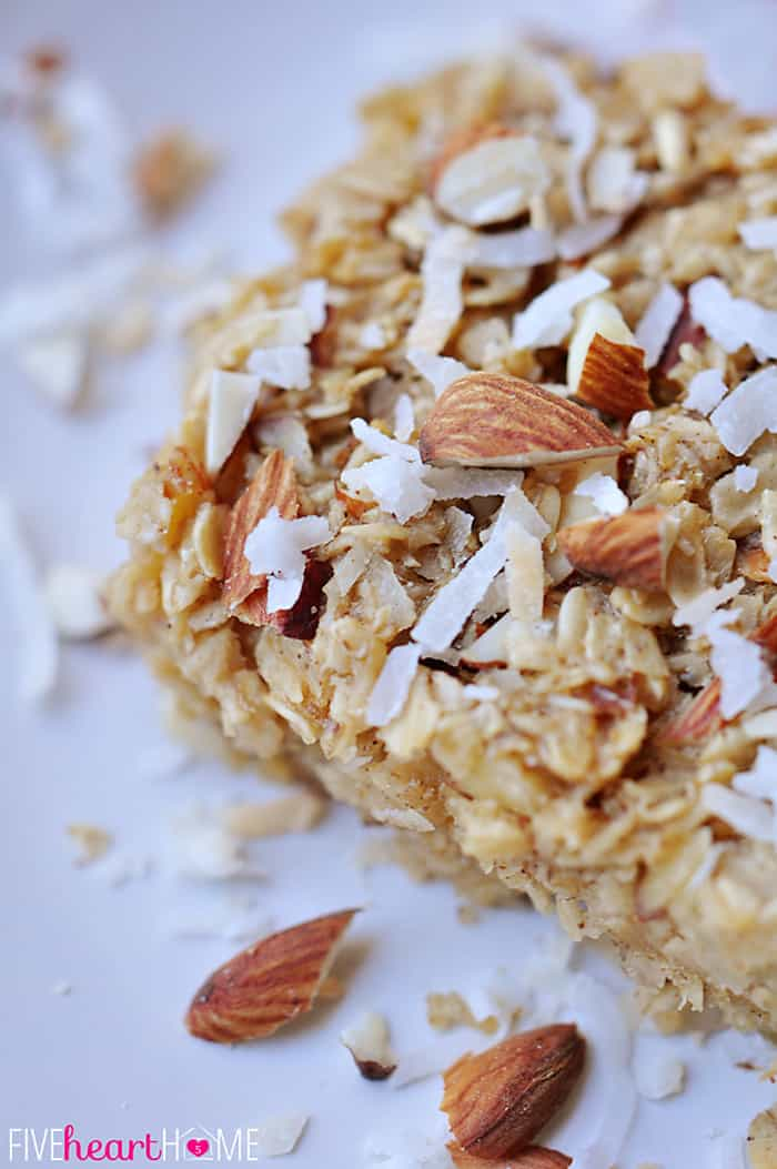 Close-Up with Garnishes of Almonds and Coconut Flakes
