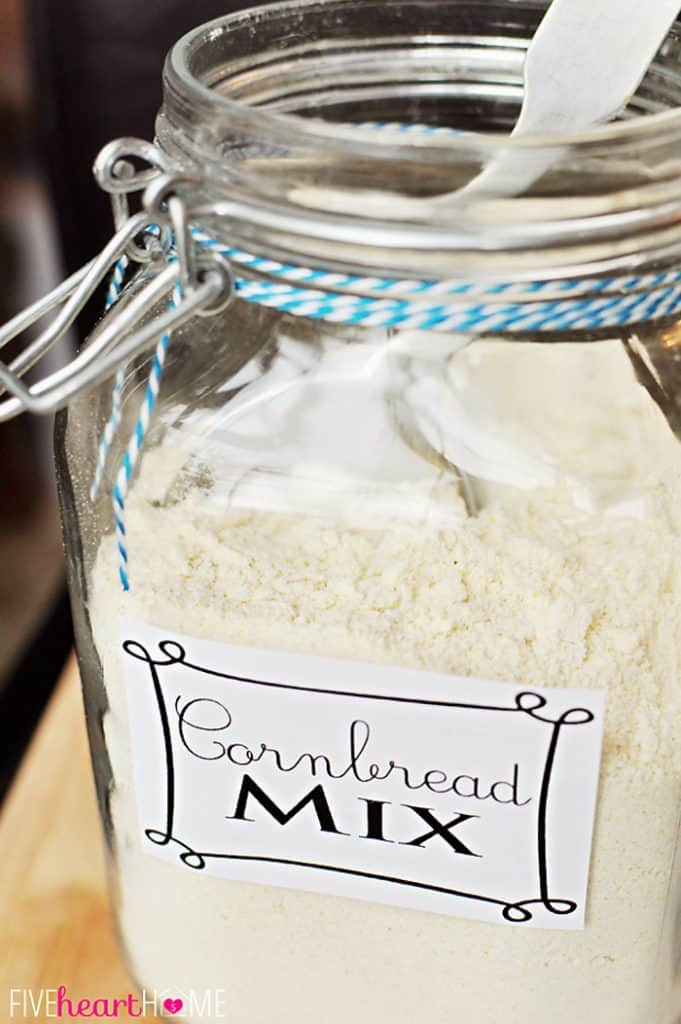 Close-up of glass jar of Cornbread Mix