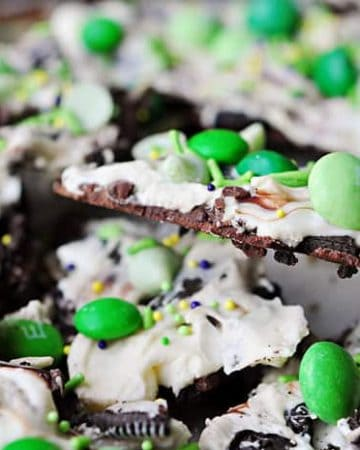Leprechaun Bait ~ Chocolate Mint Cookie Bark with semisweet and white chocolate, Oreos, mint M&Ms, and mint chips | FiveHeartHome.com
