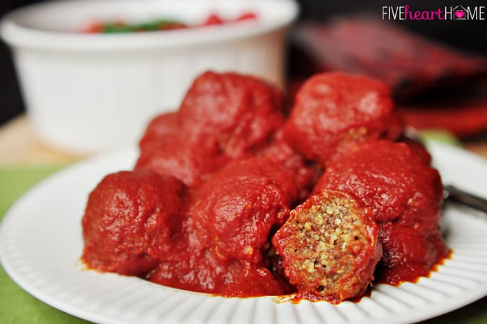 Porcupine Meatballs Stacked on White Plate
