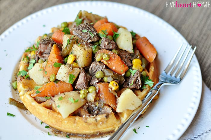 Slow Cooker Balsamic & Herb Beef Stew with Cornbread Waffles