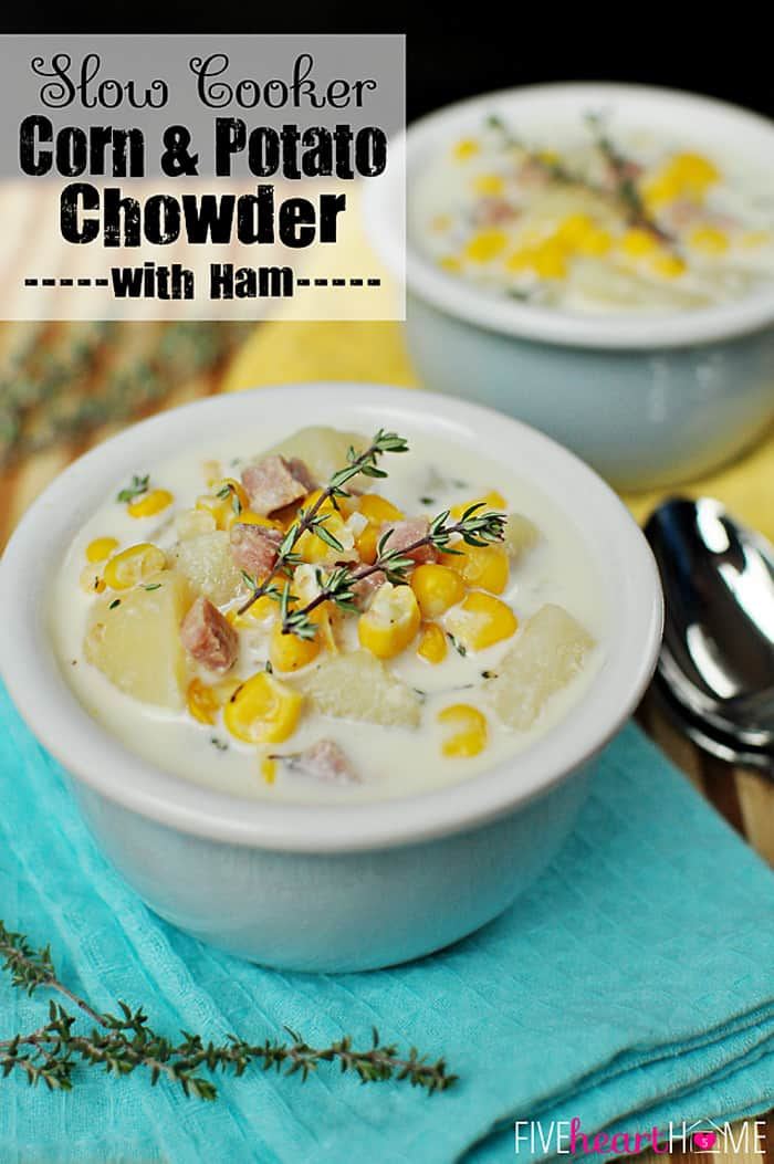 Creamy, comforting Corn & Potato Chowder is loaded with sweet corn, hearty potatoes, and flavorful ham that comes together effortlessly in the slow cooker. | FiveHeartHome.com via @fivehearthome
