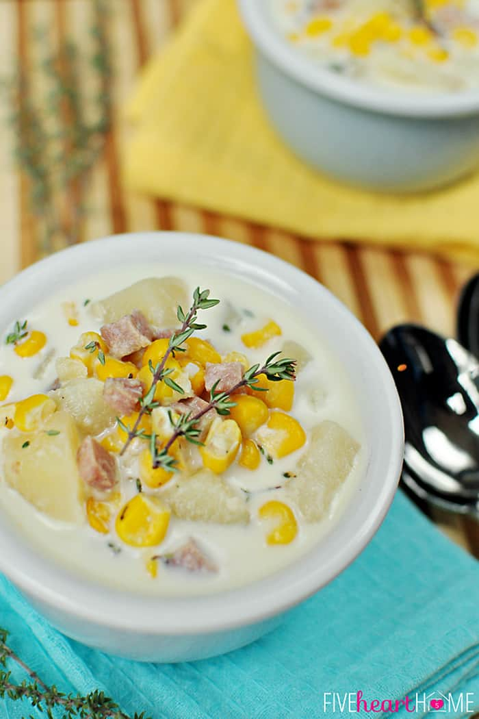 Slow Cooker Corn and Potato Chowder with Ham | FiveHeartHome.com
