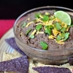 Zesty Black Bean Dip ~ healthy dip flavored with fresh garlic, jalapeño, cilantro, lime juice, and cumin; delicious with tortilla chips or raw veggies | FiveHeartHome.com