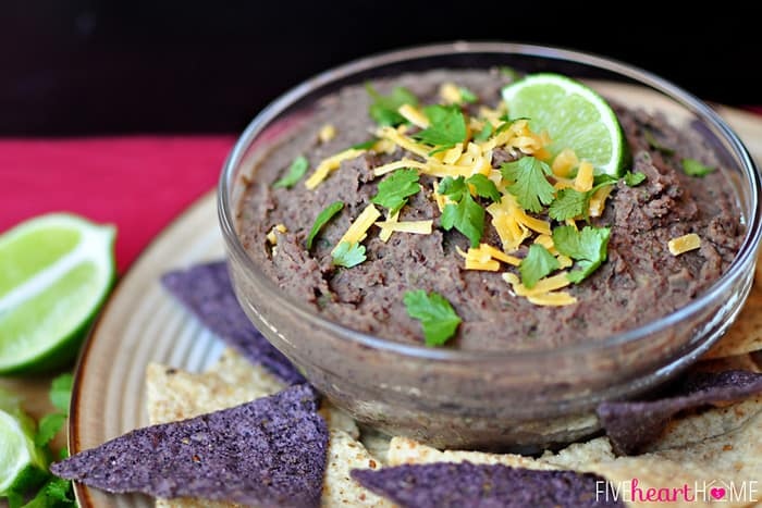 Served in a Black Bowl with Blue and White Tortilla Chips for Dipping
