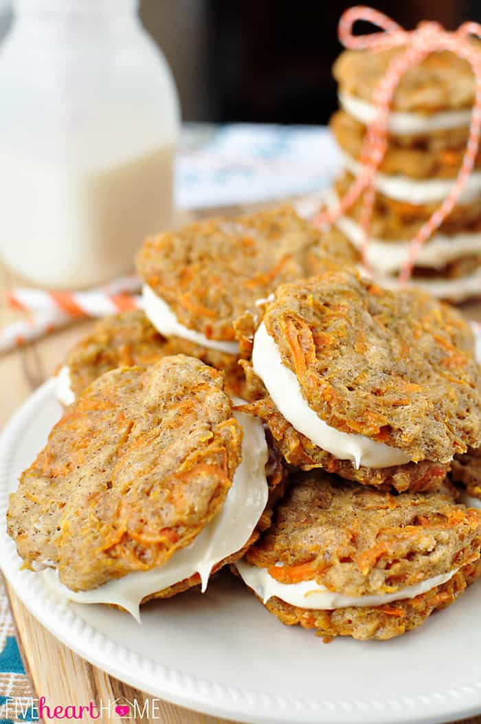 A Pile of Carrot Cake Sandwich Cookies on a White Plate