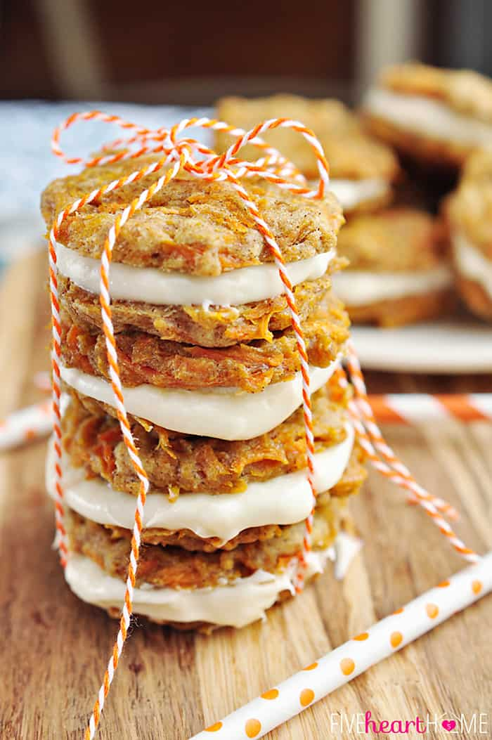 Stack of Carrot Cake Sandwich Cookies Tied with Orange and White Twine