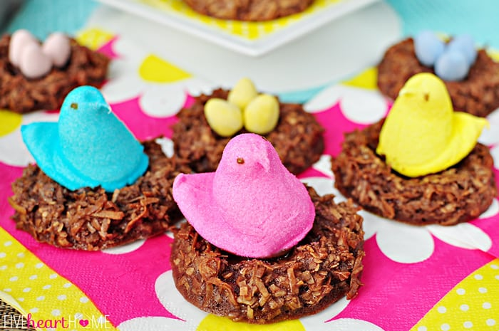 Several Chocolate Bird's Nest Cookies on Bright and Colorful Napkins