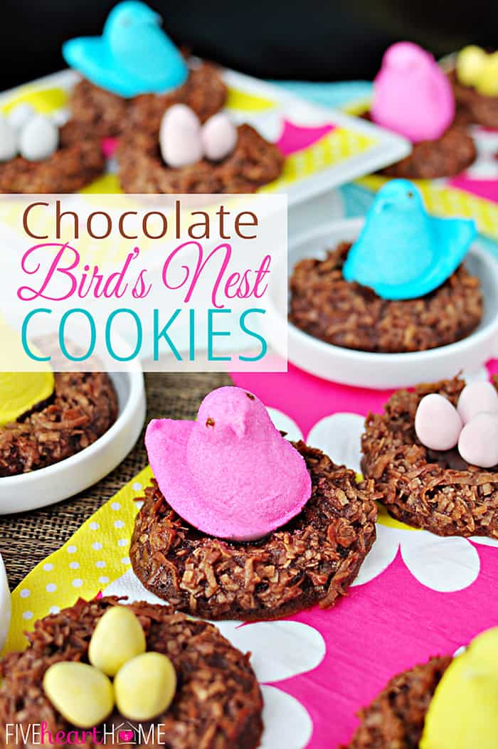 Chocolate Bird's Nest Cookies with Text Overlay
