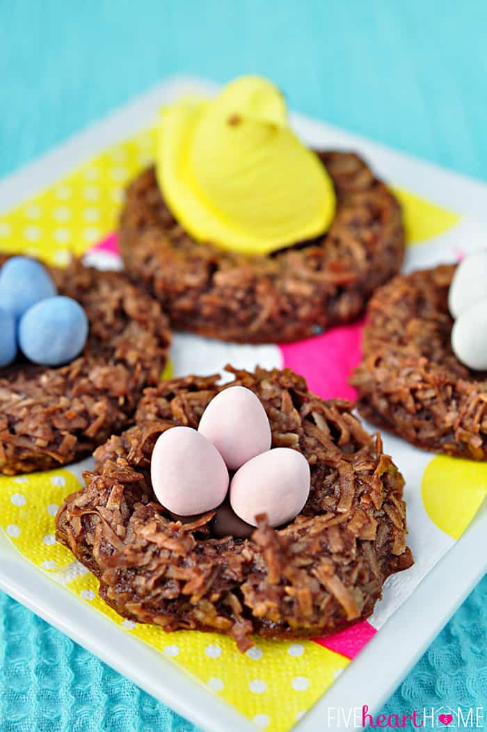 Four Chocolate Bird's Nest Cookies on a Colorful Napkin...Two with Eggs Two with Peeps