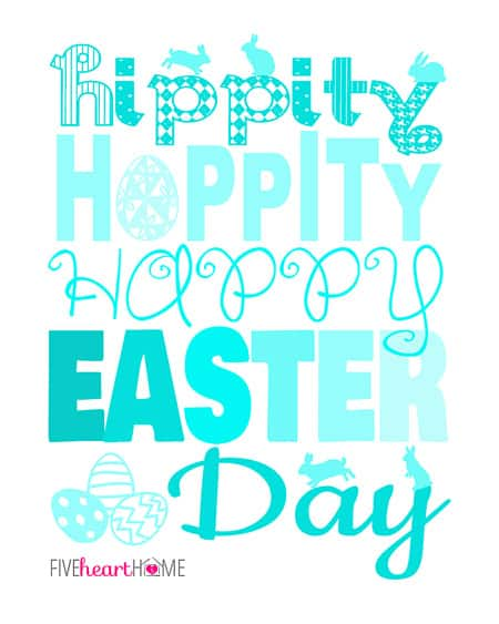 Free Easter Printable {in 3 color choices} ~ Hippity, Hoppity, Happy Easter Day! | FiveHeartHome.com