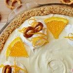 Frozen Orange Creamsicle Pie with a Pretzel Crust   FiveHeartHome.com