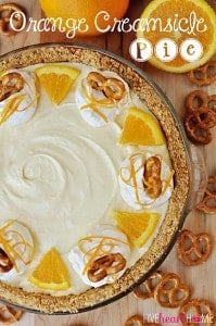Frozen Orange Creamsicle Pie with a Pretzel Crust | FiveHeartHome.com