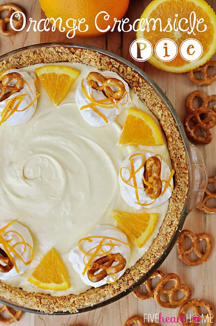 Frozen Orange Creamsicle Pie with a Pretzel Crust