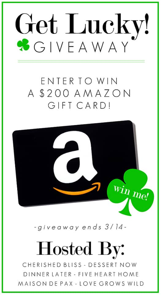 Get Lucky Giveaway ~ Enter to Win a $200 Amazon Gift Card at FiveHeartHome.com