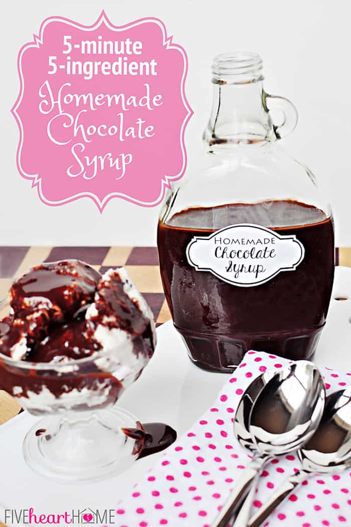 {5-minute, 5-ingredient} Homemade Chocolate Syrup ~ quick and easy; perfect on ice cream or in chocolate milk; no additives like store bought brands | FiveHeartHome.com