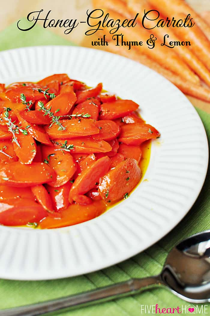 Honey-Glazed Carrots with Thyme and Lemon ~ a perfect spring side dish, and a gorgeous addition to your Easter menu! | FiveHeartHome.com via @fivehearthome