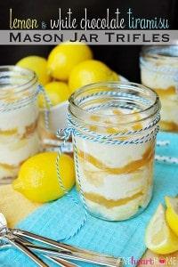Lemon and White Chocolate Tiramisu Mason Jar Trifles | FiveHeartHome.com for LilLuna.com