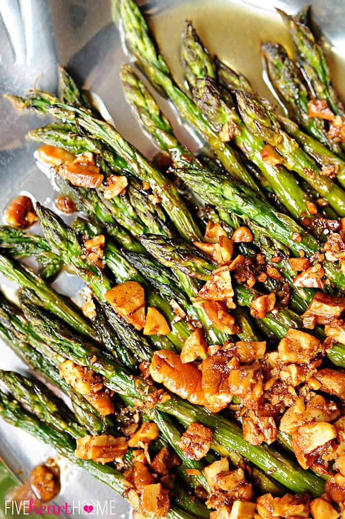 Roasted Asparagus with Brown Butter Pecans on Silver Serving Dish