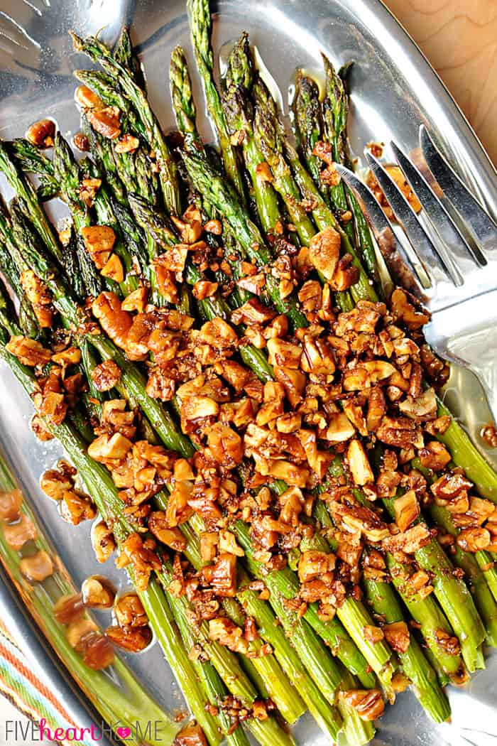 Aerial View of Roasted Asparagus with Brown Butter Pecans