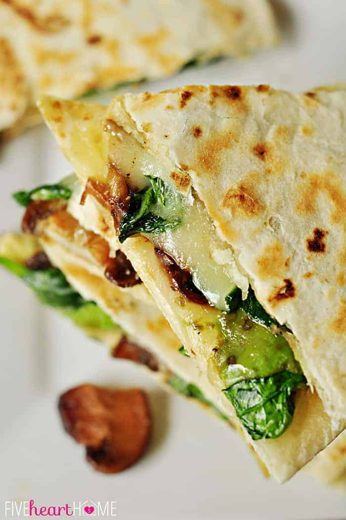 Spinach-and-Mushroom-Quesadillas-with-Avocado-and-Pepper-Jack-by-Five ...