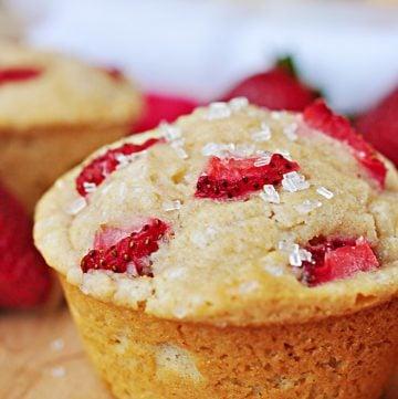 Whole Wheat Strawberry Muffins   FiveHeartHome.com for LoveGrowsWild.com