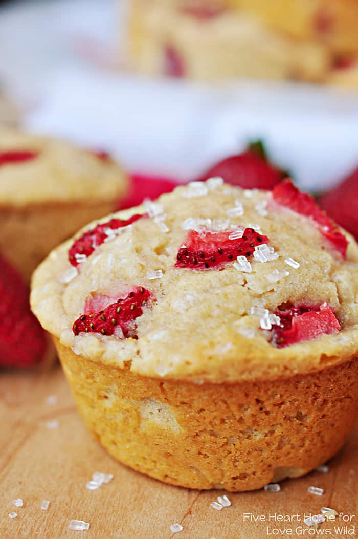 Whole Wheat Strawberry Muffins | FiveHeartHome.com for LoveGrowsWild.com