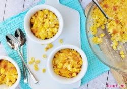 Easy Creamed Corn with Parmesan ~ creamy, decadent corn topped with Parmesan and baked until bubbly | FiveHeartHome.com