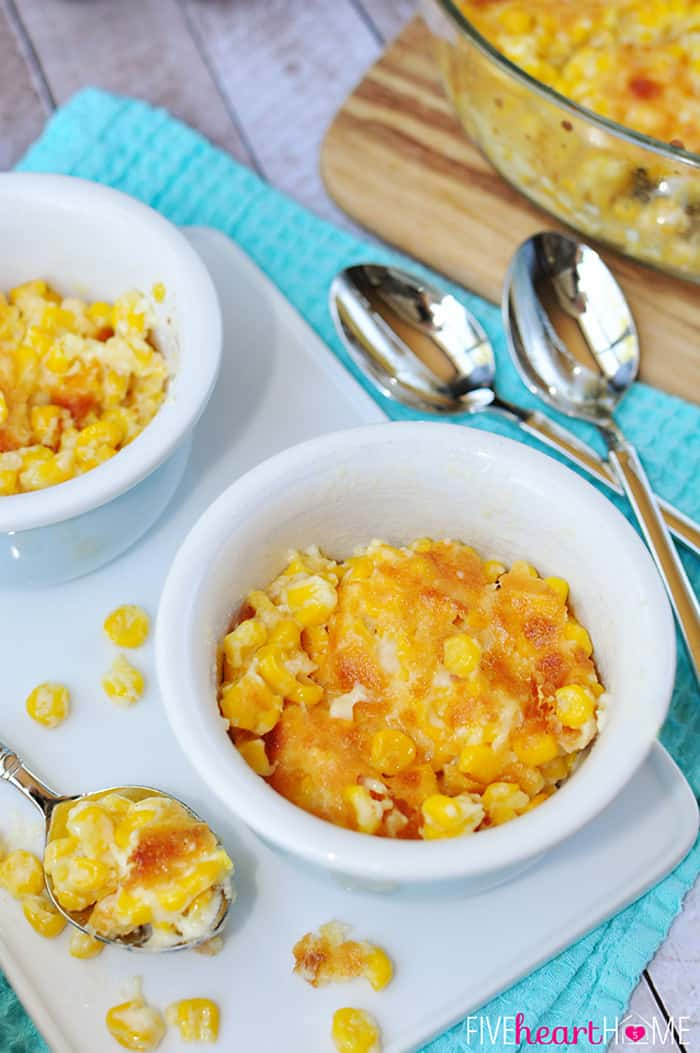 Easy Creamed Corn with Parmesan in White Bowls on Blue Tea Towels
