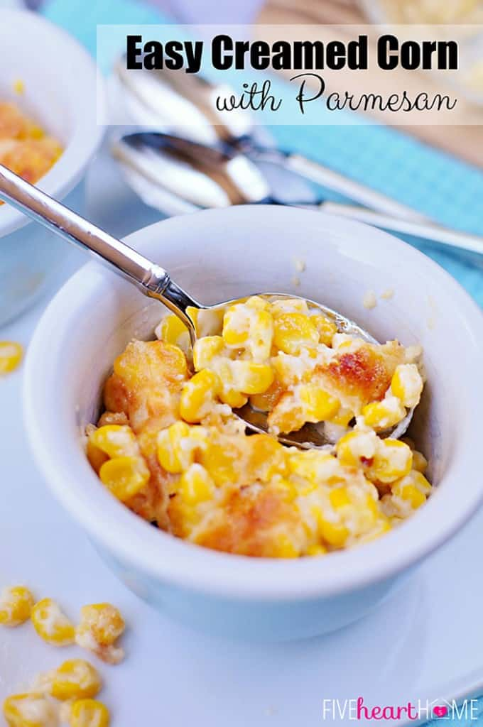 Easy Creamed Corn with Parmesan with Text Overlay