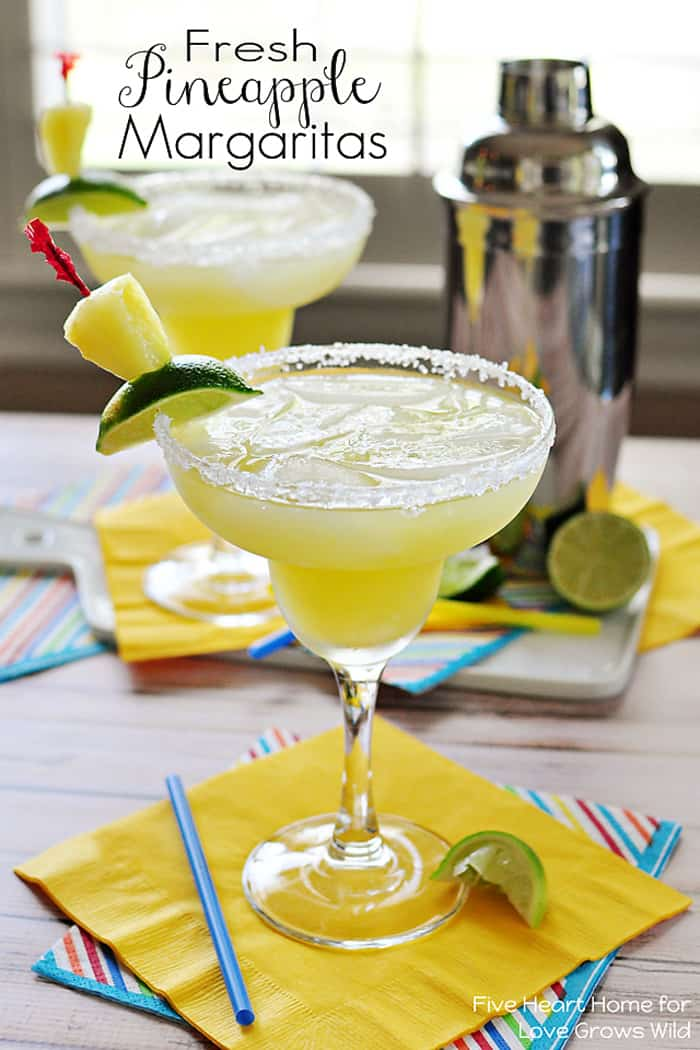 Fresh Pineapple Margaritas with text overlay.