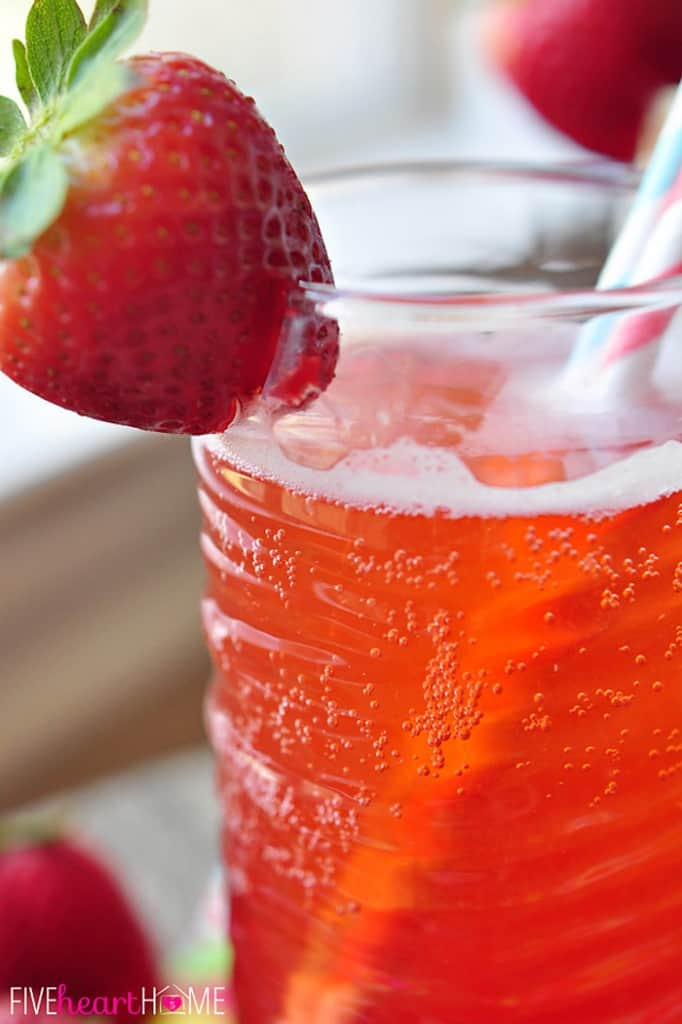 Homemade Strawberry Syrup for Strawberry Soda ~ easy, 3-ingredient syrup can also be used in cocktails or drizzled over ice cream, pound cake, waffles, etc. | FiveHeartHome.com