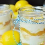 Lemon and White Chocolate Tiramisu Mason Jar Trifles ~ a quick and easy springtime dessert; cute and portable for picnics or parties | FiveHeartHome.com