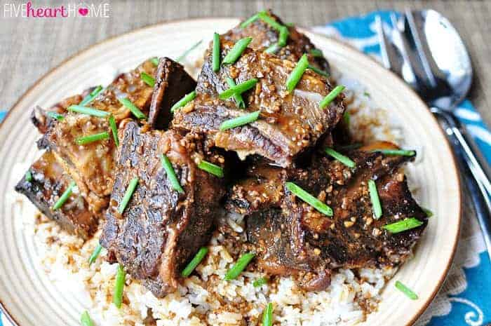 Slow Cooker Asian Beef Short Ribs ~ tender, savory beef from the crock pot, flavored with garlic, ginger, and sesame oil | FiveHeartHome.com