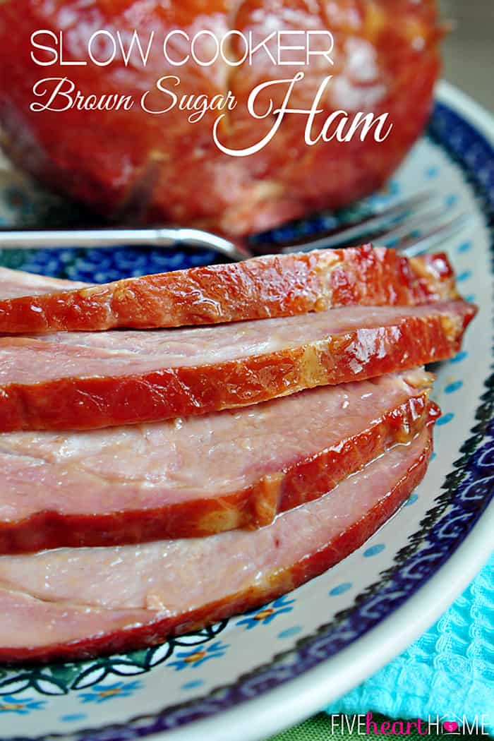 Slow Cooker Brown Sugar Ham ~ an effortless way to cook your Easter ham with a glaze of pineapple juice, brown sugar, balsamic vinegar, Dijon, and honey | FiveHeartHome.com